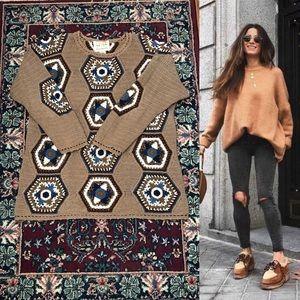90s Hand Knit Crochet Tan Sweater